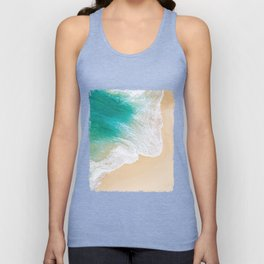 Sand Beach - Waves - Drone View Photography Unisex Tank Top