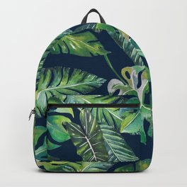 Jungle Leaves, Banana, Monstera, Blue Backpack