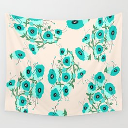Teal Flowers Wall Tapestry