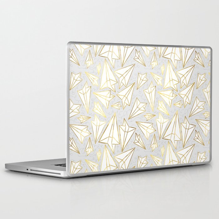 Paper Airplanes Faux Gold on Grey Laptop & iPad Skin