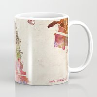 san francisco Mugs featuring San Francisco by Map Map Maps