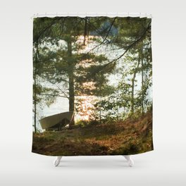 450 - Boat at the Cottage Shower Curtain