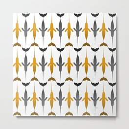 Narwhale Pattern in Yellow and Gray Colors Metal Print
