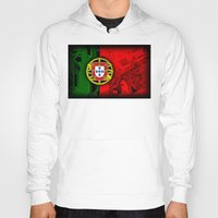 portugal Hoodies featuring circuit board Portugal (Flag) by seb mcnulty
