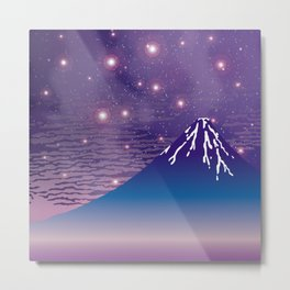 Hokusai Fuji under the Stars Metal Print