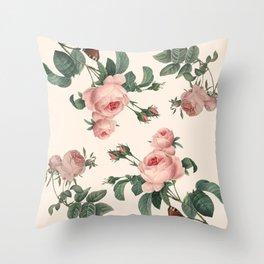 Rose Garden Butterfly Pink Throw Pillow