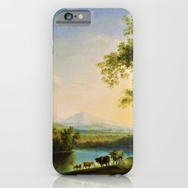 Italian Landscape with Cattle and Roman Temple by Jakob Philipp Hackert iPhone Case