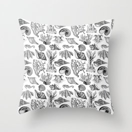 Vintage Nautical Illustrations in Black Ink Throw Pillow
