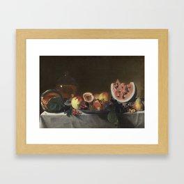 Pensionante del Saraceni Still Life with Fruit and Carafe Framed Art Print