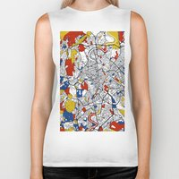 rome Biker Tanks featuring Rome by Mondrian Maps