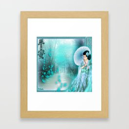 Geisha In Teal Framed Art Print