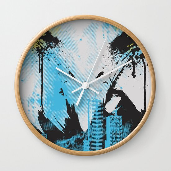Eagle Eye Watching - Blue Wall Clock