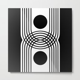 Black and White Mid Century Modern Arches  Metal Print