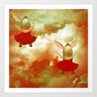 Flying pigs Art Print