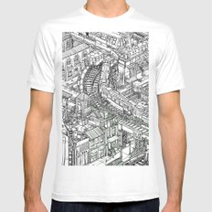 The Town of Train 2 MEDIUM Mens Fitted Tee White