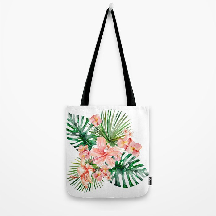 Tropical Jungle Hibiscus Flowers - Floral on #Society6 Tote Bag