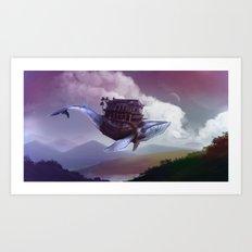 Floating whale Art Print