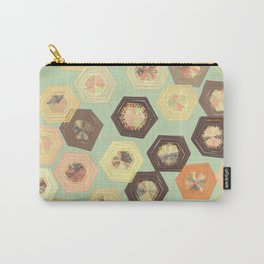 Retro Ruffled Hexagons Carry-All Pouch