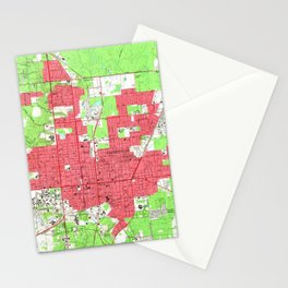 Vintage Map of Gainesville Florida (1966) 2 Stationery Cards