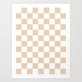 Checkered - White and Pastel Brown Art Print