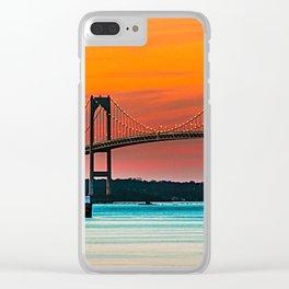 Newport Bridge - Newport, Rhode Island - Conanicut Island Sunset Clear iPhone Case