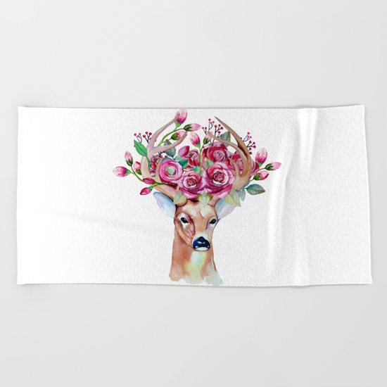 Shy watercolor floral deer Beach Towel