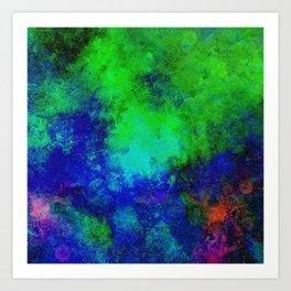 Awaken - Blue, green, abstract, textured painting Art Print