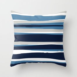 Striped Modern Beach Landscape Blue Grey Throw Pillow