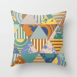 Multi Patterned Geometric Triangles Throw Pillow