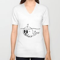 moby V-neck T-shirts featuring Moby Skull by Stephan Brusche