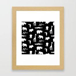 Exotic white animals pattern Framed Art Print