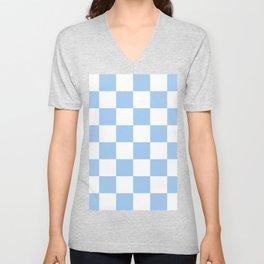 Large Checkered - White and Baby Blue Unisex V-Neck