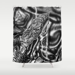 Feral Greyscale - Giger Tribute Shower Curtain