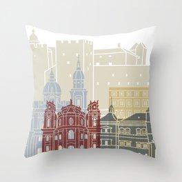 Salzburg skyline poster Throw Pillow