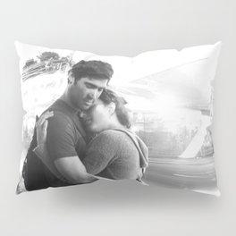 The Lovers | Timeless Night Scene Couple Embrace Romantic Hug Black and White Long Exposure Pillow Sham
