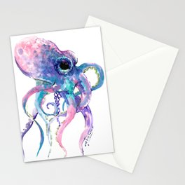 Octopus, Pink purple sea animals design underwater scene painting Stationery Cards