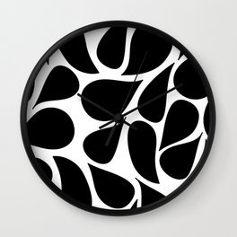 Abstract Black & White Foliage Pattern - Mix and Match with Simplicity of Life Wall Clock