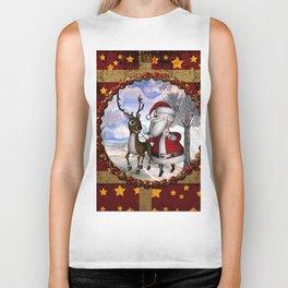 Santa Claus with reindeer Biker Tank