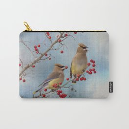 Cedar Waxwing Pair Carry-All Pouch