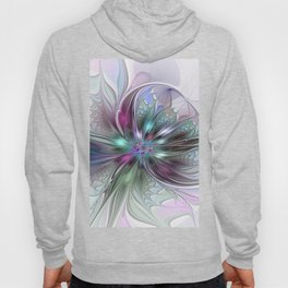 Colorful Fantasy Abstract Modern Fractal Flower Hoody