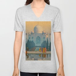 Morning Mist in Taj Mahal Vintage Beautiful Japanese Woodblock Print Hiroshi Yoshida Unisex V-Neck