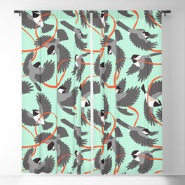 Chickadees with Ribbon Blackout Curtain