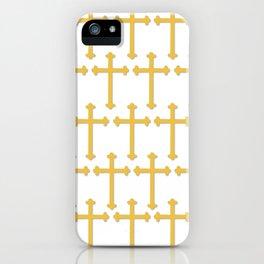 Golden Cross Pattern iPhone Case