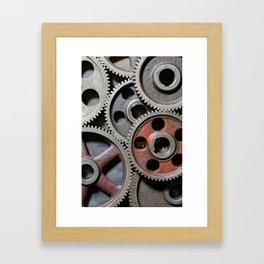 Group of old steel cogwheels Framed Art Print