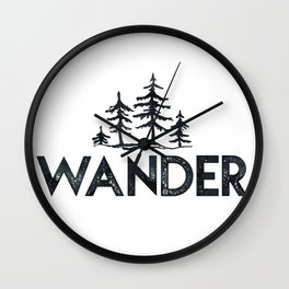 WANDER Forest Trees Black and White Wall Clock