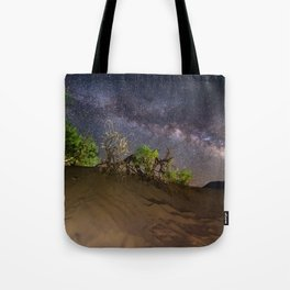 Milky Way over Death Valley Sand Dunes Tote Bag