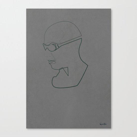 One Line Pitch Black Canvas Print