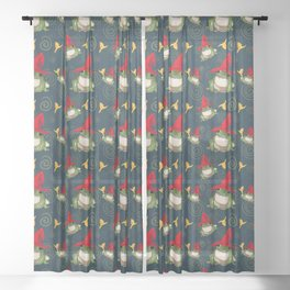 Frog Wizard on Blue Sheer Curtain