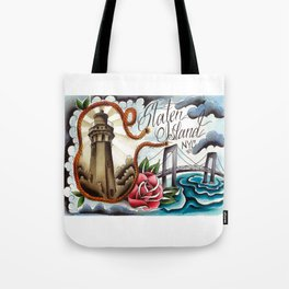 Staten Island NYC Lighthouse and Bridge Tote Bag