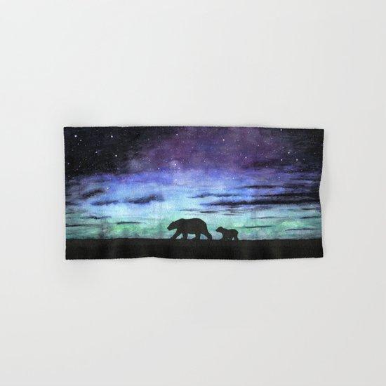 Aurora borealis and polar bears (black version) Hand & Bath Towel
